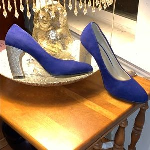 Blue and silver heels